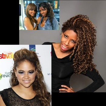 From left to right, popular Bronx singer Kat DeLuna next to Dream who, in addition to being a member of the Magic Neighbors Theater Company, is also a creative hair stylist who cuts and styles Kat DeLuna's hair.