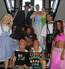 Magic Neighbors Troupe, Top left to right, Manhattan Magician Yianni, Mother Goose NYC, Little Princess Magician, 2nd row from top - Paris Goldilocks, Blanco Bear, Joe the Woodsman, Dream the Princess. Front left to right - Harley and Genesis.